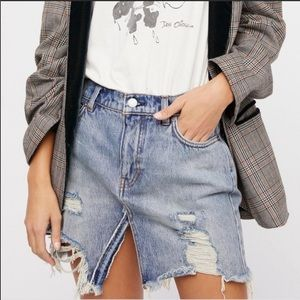 Free People Relaxed And Destroyed Denim Mini Skirt